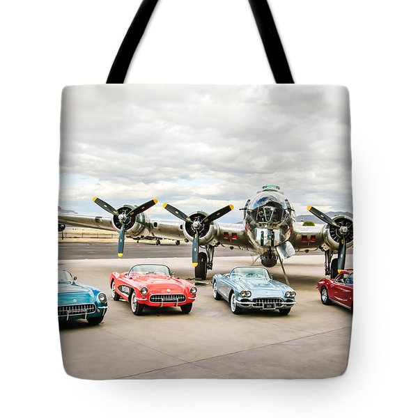 Corvettes And B17 Bomber Tote Bag