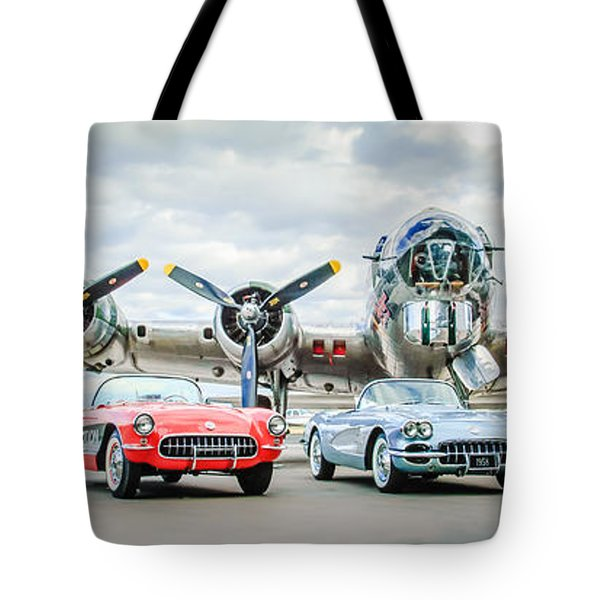 Tote Bag featuring the photograph Corvettes With B17 Bomber by Jill Reger