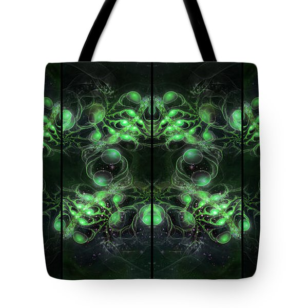 Cosmic Alien Eyes Green Tote Bag by Shawn Dall