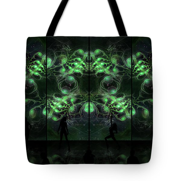 Cosmic Alien Vixens Green Tote Bag by Shawn Dall
