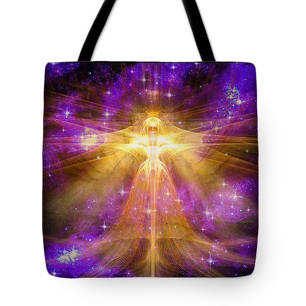 Tote Bag featuring the digital art Cosmic Angel by Shawn Dall