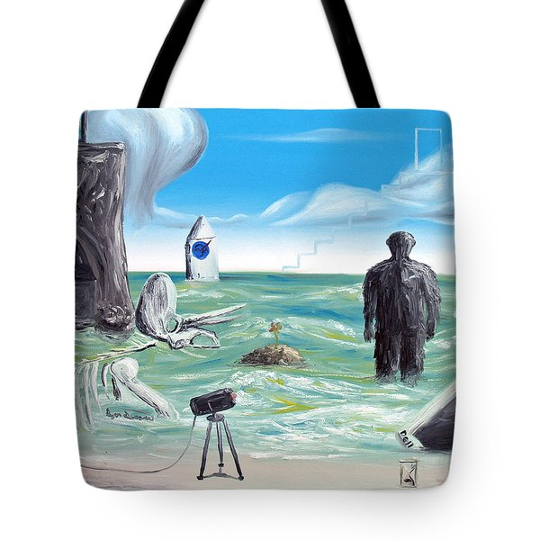 Tote Bag featuring the painting Cosmic Broadcast -last Transmission- by Ryan Demaree