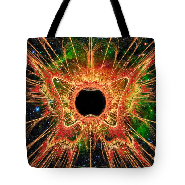 Tote Bag featuring the digital art Cosmic Butterfly Phoenix by Shawn Dall