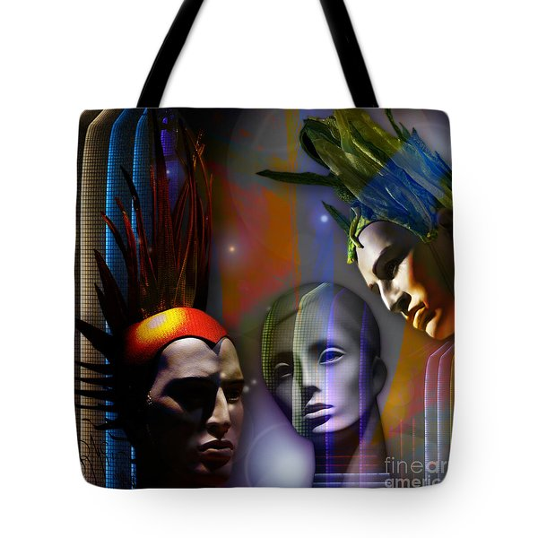 Tote Bag featuring the digital art Cosmic Mannequins Triad by Rosa Cobos