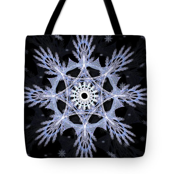 Tote Bag featuring the digital art Cosmic Snowflakes by Shawn Dall