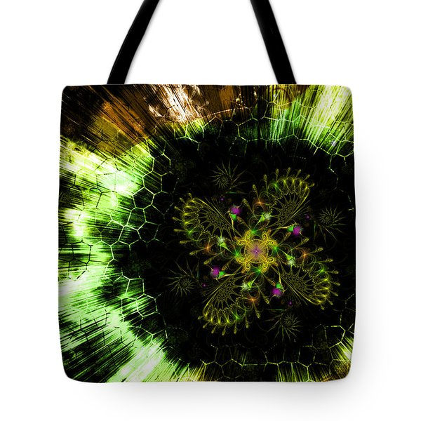 Cosmic Solar Flower Fern Flare Tote Bag