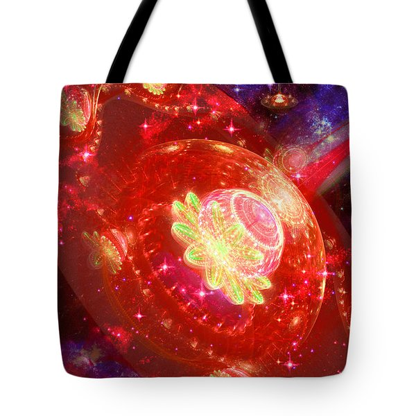Tote Bag featuring the digital art Cosmic Space Station by Shawn Dall