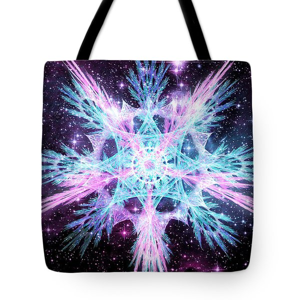 Tote Bag featuring the digital art Cosmic Starflower by Shawn Dall