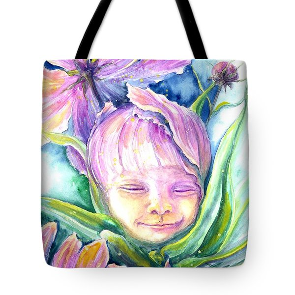 Tote Bag featuring the painting Cosmos Bud by Ashley Kujan