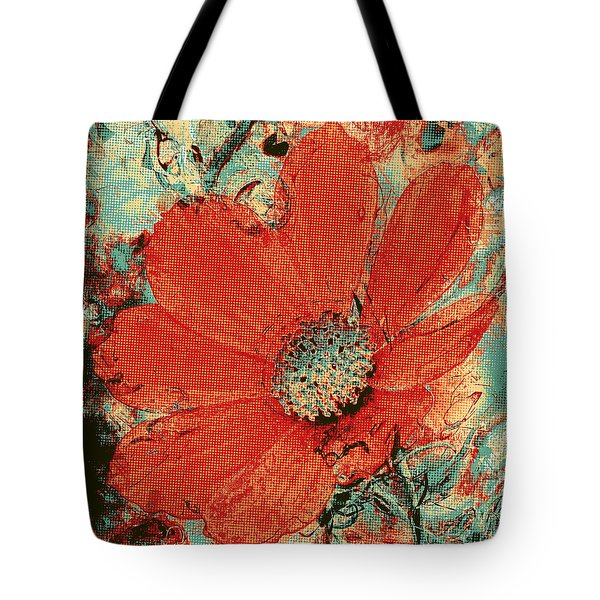 Cosmos Flower Colorized Halftone Tote Bag