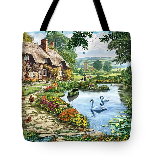 Cottage By The Lake Tote Bag by Steve Crisp