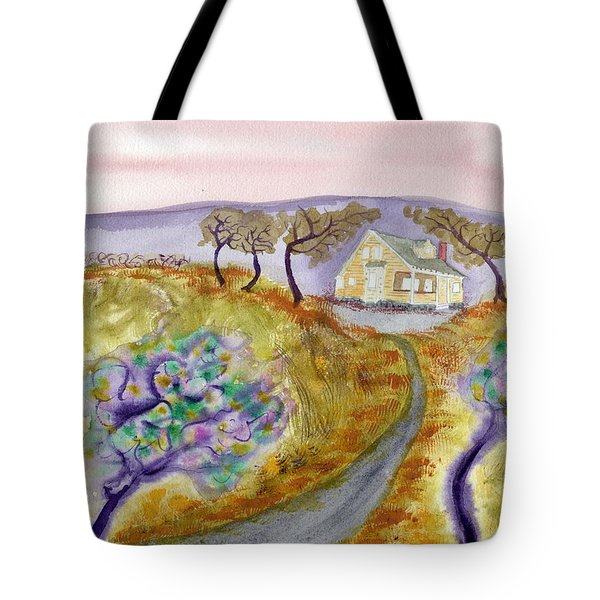 Cottage By The Purple Trees Tote Bag