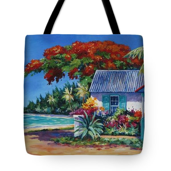 Cottage On 7-mile Beach Tote Bag by John Clark