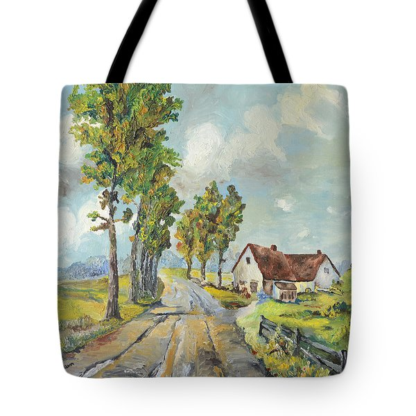 Tote Bag featuring the painting Cottage On Poplar Lane by Mary Ellen Anderson