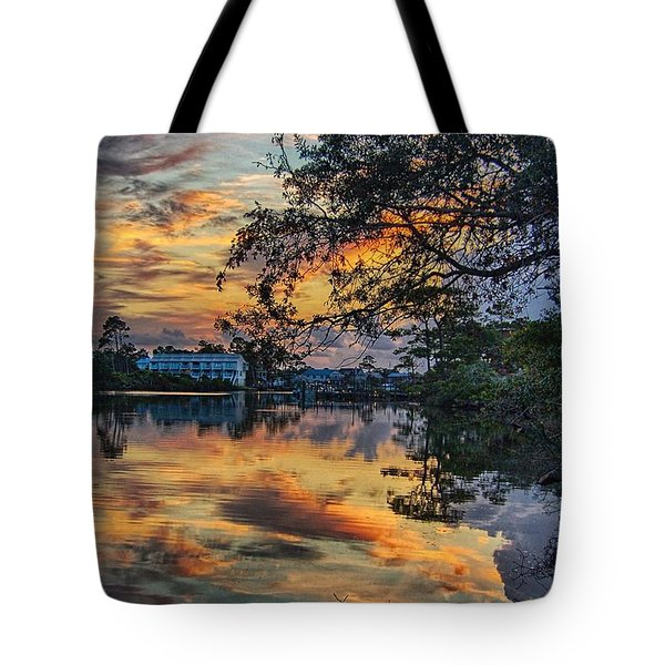 Tote Bag featuring the digital art Cotton Bayou Sunrise by Michael Thomas