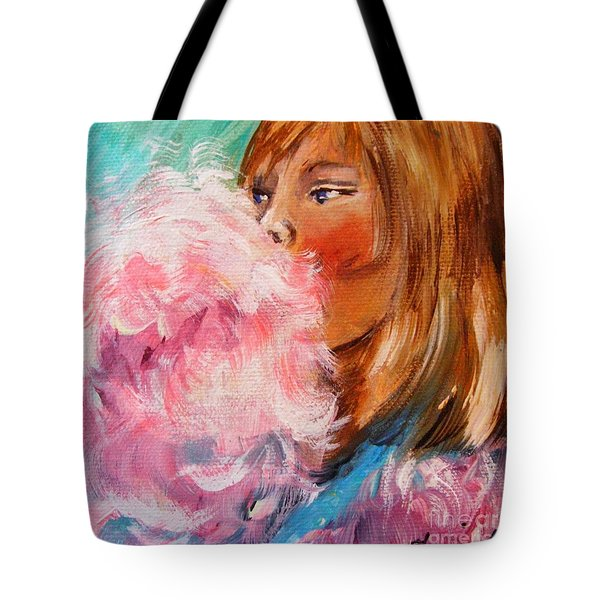 Tote Bag featuring the painting Cotton Candy by Karen  Ferrand Carroll