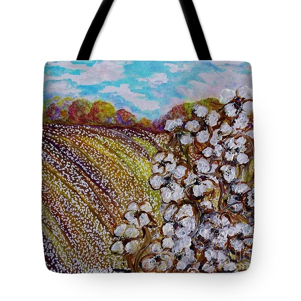 Cotton Fields In Autumn Tote Bag by Eloise Schneider