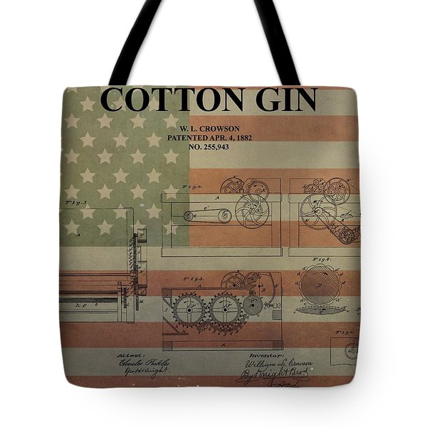 Cotton Gin Patent Aged American Flag Tote Bag