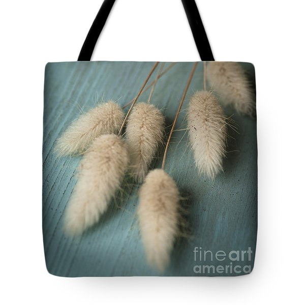 Cottontails On Blue Tote Bag by Jan Bickerton
