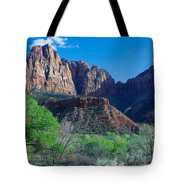 Cottonwood Trees And The Watchman, Zion Tote Bag by Panoramic Images