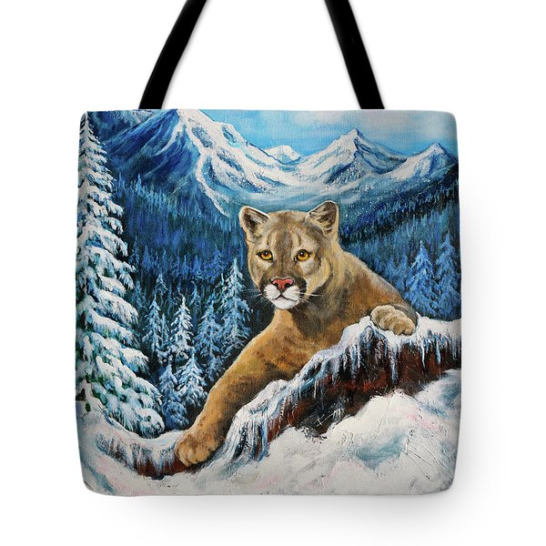 Tote Bag featuring the painting Cougar Sedona Red Rocks  by Bob and Nadine Johnston