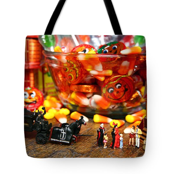 Count And Countess Dracula Inadvertently Took Their Daughters Trick Or Treating At The Van Helsings Tote Bag by Lon Casler Bixby