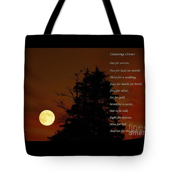 Counting Crows - Old Superstitious Nursery Rhyme Tote Bag by Barbara Griffin