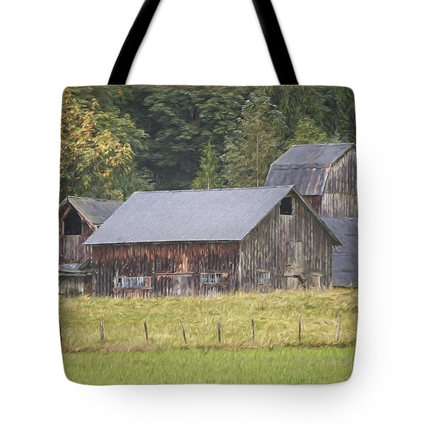 Tote Bag featuring the painting Country Art - Rustic Old Barns With Cow In The Pasture by Jordan Blackstone