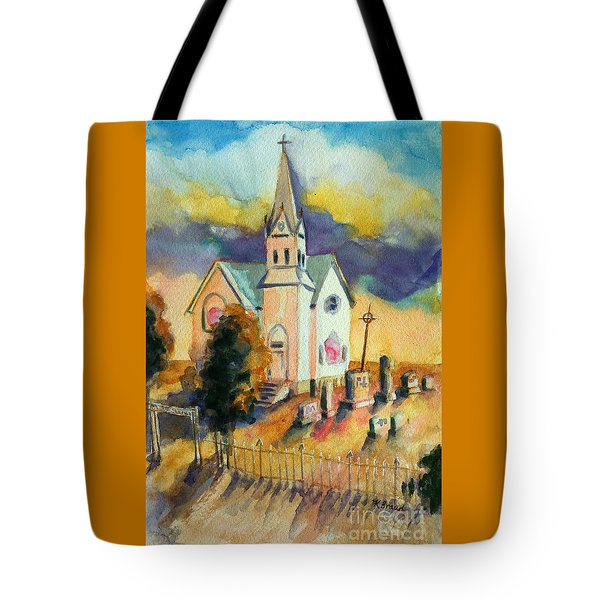 Tote Bag featuring the painting Country Church At Sunset by Kathy Braud