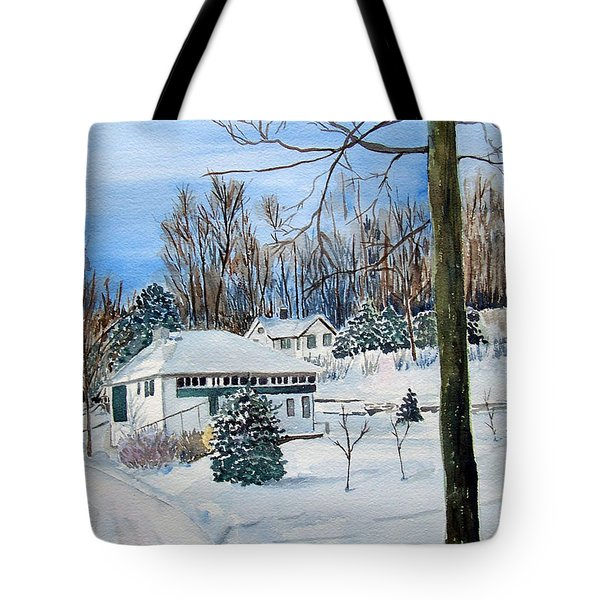 Country Club In Winter Tote Bag by Christine Lathrop