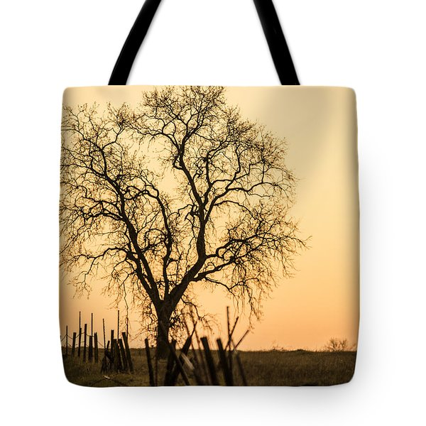 Country Fence Sunset Tote Bag