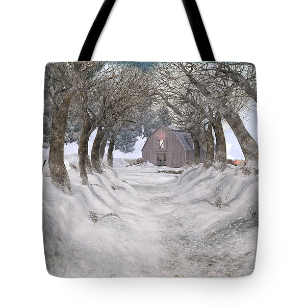 Country Lane In Winter Tote Bag by Kylie Sabra