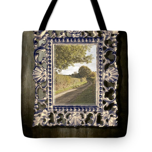 Country Lane Reflected In Mirror Tote Bag by Amanda Elwell