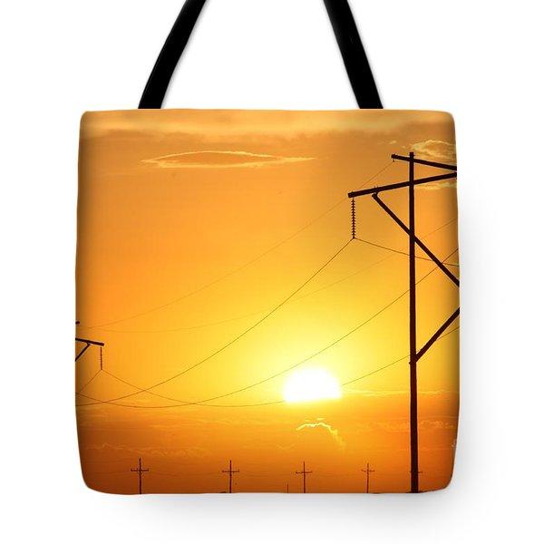 Country Powerline's Tote Bag by Robert D  Brozek