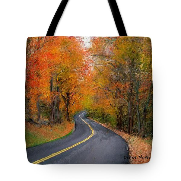 Tote Bag featuring the painting Country Road In Autumn by Bruce Nutting