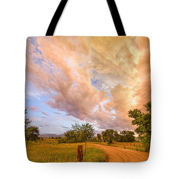 Country Road Into The Storm Front Tote Bag by James BO  Insogna