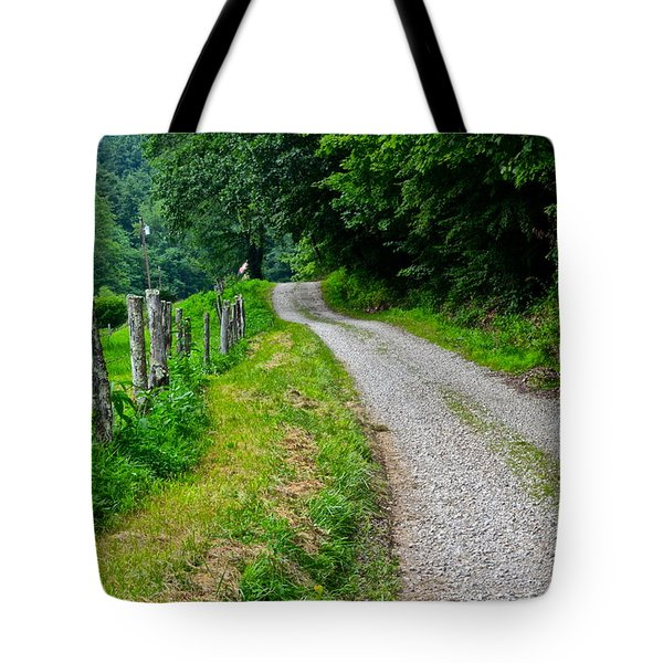 Country Road Tote Bag by Frozen in Time Fine Art Photography