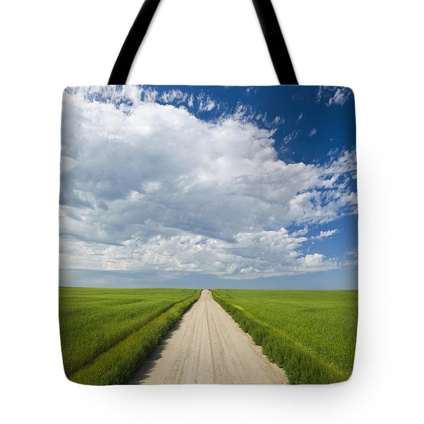 Country Road Through Grain Fields Tote Bag by Dave Reede