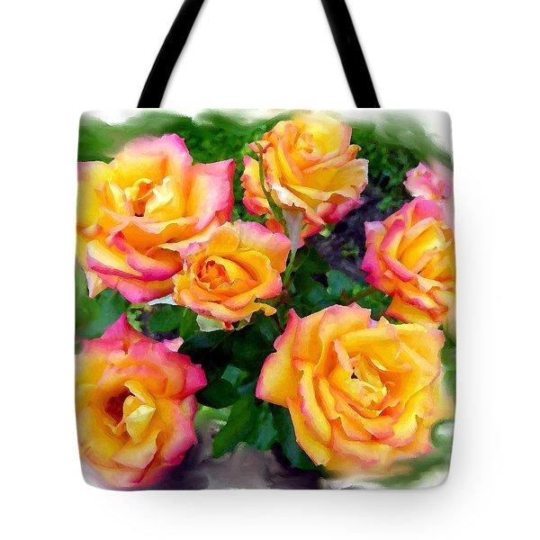 Country Roses Watercolor Tote Bag by Will Borden