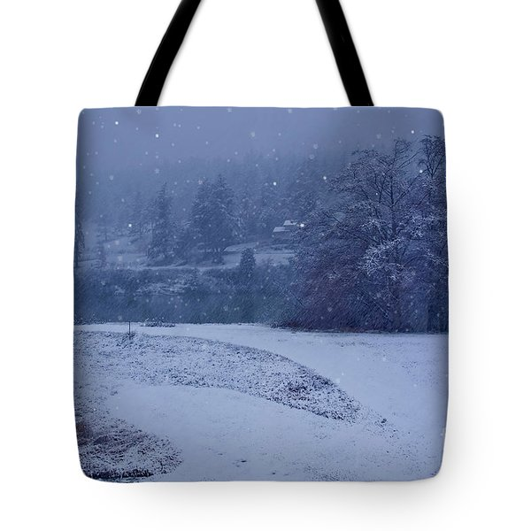 Tote Bag featuring the photograph Country Snowstorm Landscape Art Prints by Valerie Garner