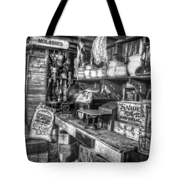 Country Store Supplies Black And White Tote Bag by Ken Smith