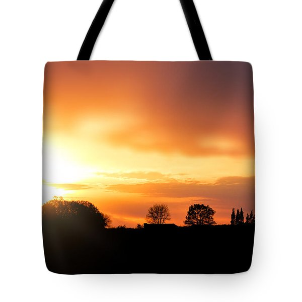 Country Sunset Silhouette Tote Bag