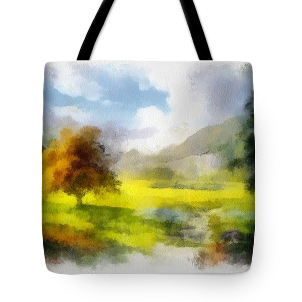 Tote Bag featuring the painting Countryside Rural Landscape by Maciek Froncisz