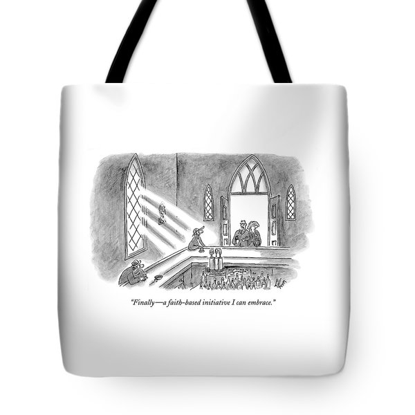 Couple Entering Church Find Bar Patrons Sitting Tote Bag
