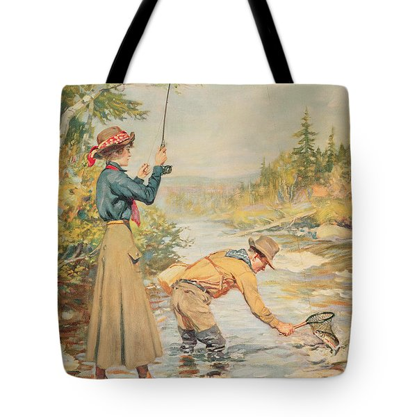 Couple Fishing On A River Tote Bag