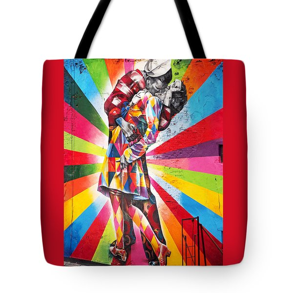 Couple Kissing In Times Square On V-j Day Tote Bag