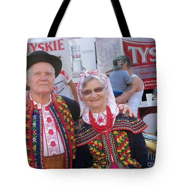 Couples In Polish National Costumes Tote Bag by Lingfai Leung