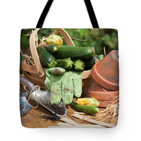 Courgette Basket With Garden Tools Tote Bag by Amanda Elwell