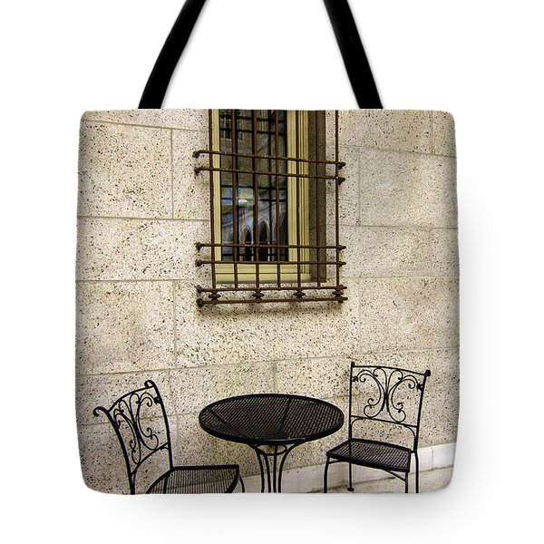 Tote Bag featuring the photograph Courtyard Seating For Two by Betty Denise