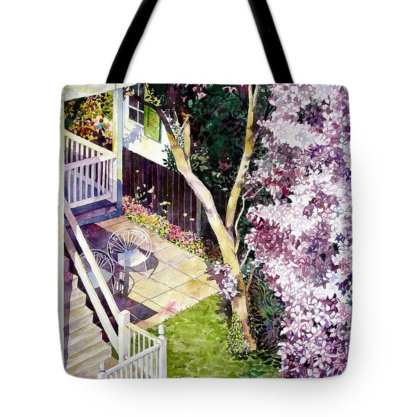 Courtyard With Cherry Blossoms Tote Bag